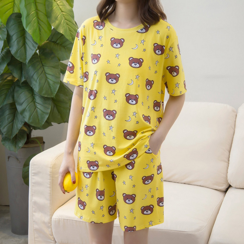 Large Size Pajamas Women's Summer Short-sleeved Thin Pure Cotton Korean-style Cute Plus-sized 200 Of Fat Mm Homewear Set