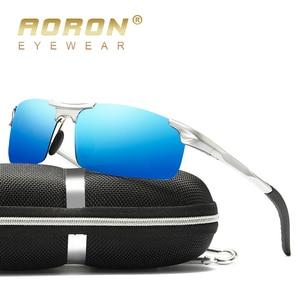 Image 3 - AORON jazdy spolaryzowane okulary aluminiowa rama sportowe okulary mężczyźni kierowcy Retro gogle okulary UV400 przeciwodblaskowe