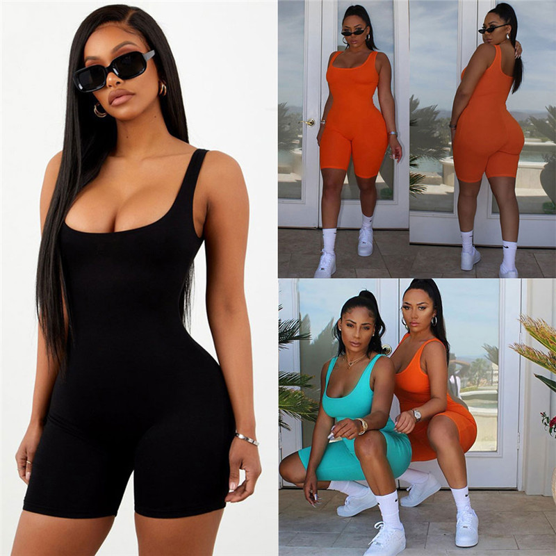 2019 Sexy Women Sleeveless Romper Jumpsuit Bodycon Bodysuit Slim Fit Sports Short Pants Clubwear Backless Biker Shorts Playsuit