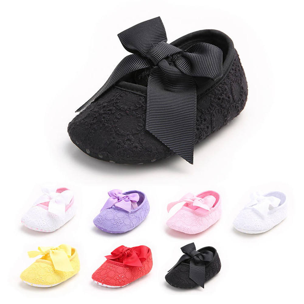 Baby Girl Shoes Newborn Toddler Mary Jane Solid Embroidery Bowknot Infant First Walkers Slip-on Princess Baby Crib Shoes