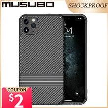Musubo capa protetora de silicone, case protetor de carbono, a prova de choque, capa traseira, para iphone 11, pro, max coque