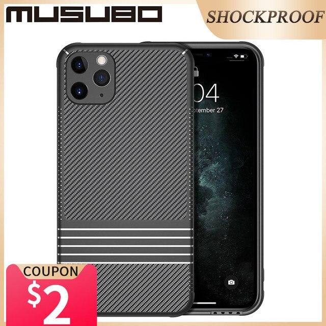 Musubo הלחמת פחם מקרה עבור iPhone 11 פרו מקס רך עמיד הלם סיליקון הגנה חזרה כיסוי מקרה יוקרה Funda i11 פרו coque