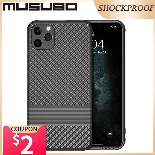 Musubo カーボンろうケース iphone 11 プロマックスソフト耐衝撃シリコン保護バックカバーケース高級 Funda i11 プロ coque