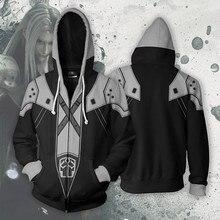 2020 nova final fantasy 7 hoodie sephiroth cosplay traje masculino casual zip jaqueta moletom