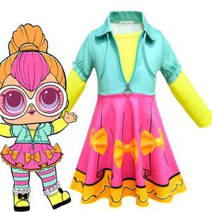 LOL niespodzianka lalka z długim rękawem sukienka Cosplay garnitur ubrania dla dziewczynek dzieci kostium na Halloween dla dzieci odzież dla dzieci