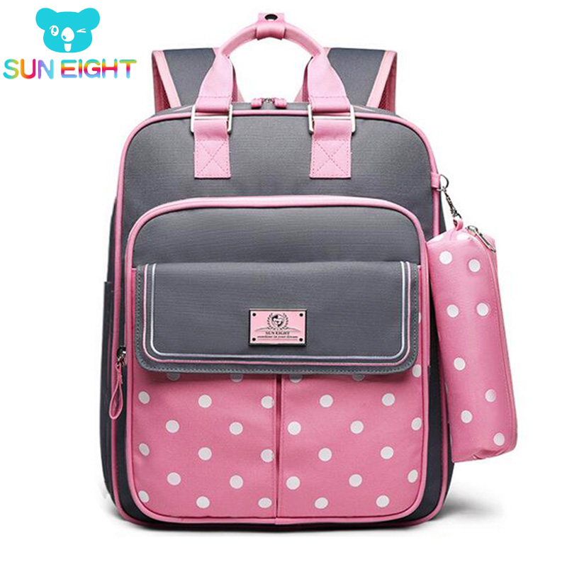 SUN EIGHT Girl School Bags Waterproof Nylon Children's Backpack Kids School bag For Girl Gift Mochila Escolar Orthopedic