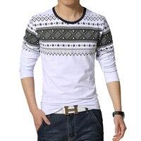 2019 New fashion casual floral Male cotton t shirt striped long sleeved t shirt o neck Tee shirt print t shirt men 4XL 5XL