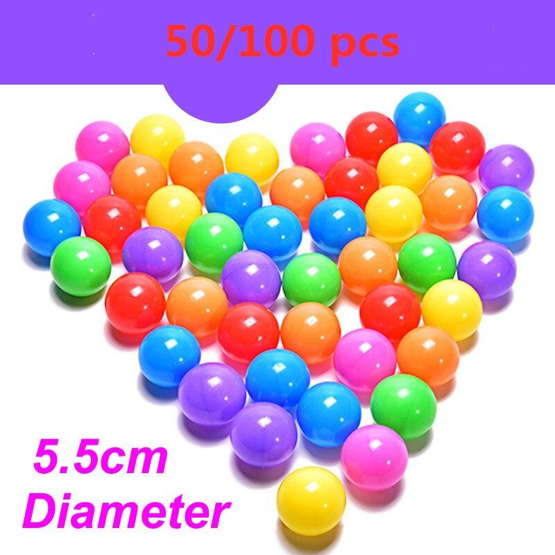 50/100 Pcs/lot Water Pool Ocean Wave Ball Dia 5.5cm Eco-Friendly Colorful Ball Soft Plastic Ocean Ball Funny Baby Kid Swim Pit T