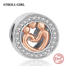 Strollgirl 925 Sterling Silver Mom and Kid Hand In Charms Beads Fit Pandora bracelets Jewelry Best Gift For Mothers Day