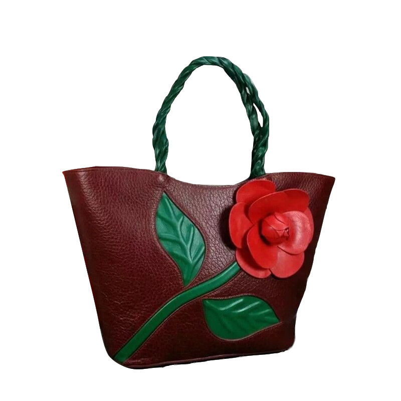 Vintage Style Women's Rose Flower Totes Handbag Genuine Leather Female Single Shoulder Bag Authentic Cow Skin Lady Large Purse