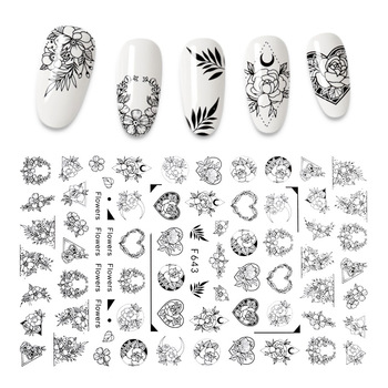 3D etiqueta engomada del clavo negro y blanco arte de uñas decoraciones de amor corazón flor diseño de accesorios de uñas de moda calcomanías para manicura