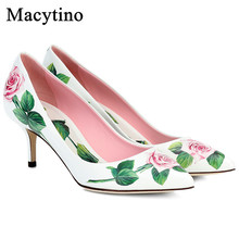 Floral Printing High Heel Pointed Toe Kitten Heel Shoes Wome