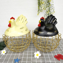 цена на Large Metal Storage Basket with Lid Iron Decoration Egg Cage Bread Fruit Basket Creative Hen Decoration Organizer Kitchen Gift