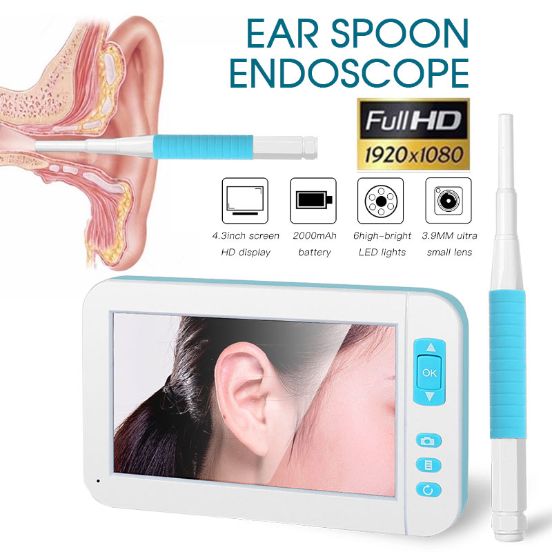 4.3 Inch HD Display Screen Visual Ear Spoon Endoscope Visible Ear Cleaning Tool with 6 LEDs Ear Otoscope Ear Otoscope Ear Inspection Camera