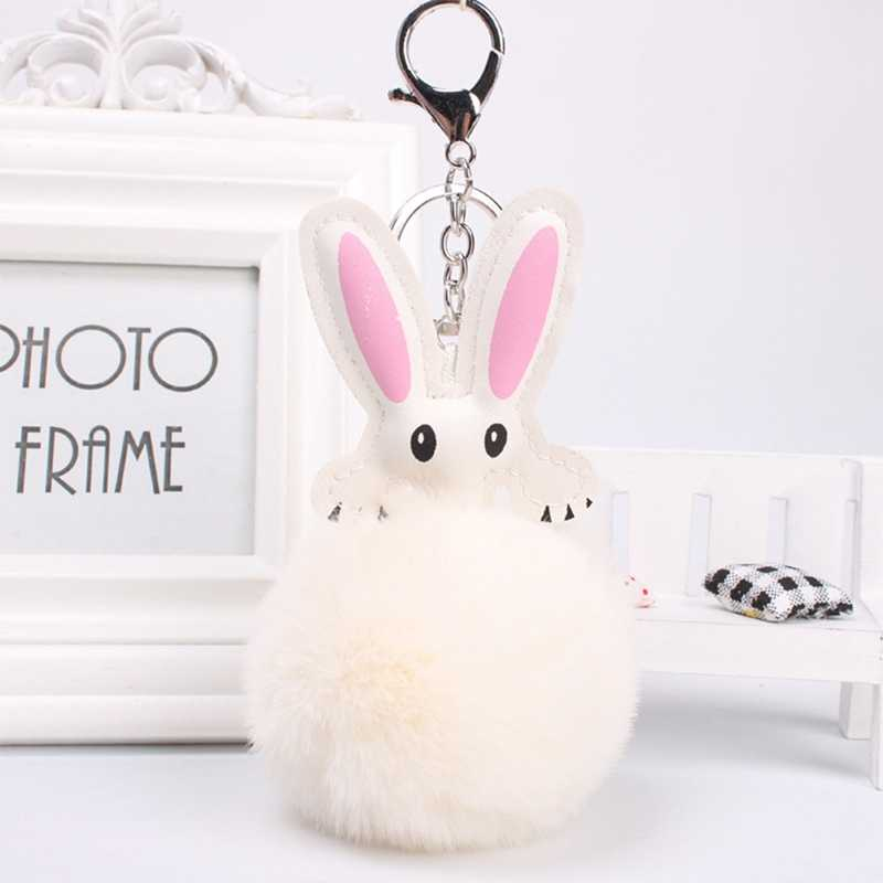 Пушистый брелок из искусственного меха кролика с помпоном для ключей из искусственной кожи, подвески-кролики, брелок для ключей