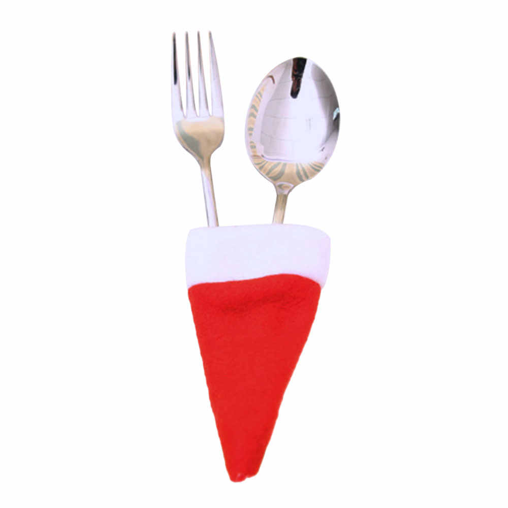 หมวกคริสต์มาสฝาครอบมีดและส้อมสีขาว + สีแดงรูปแบบผู้ถือชุดอาหารค่ำตกแต่งครัวพ็อกเก็ตมีด Xmas