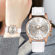Fashion Women Leather Band Quartz Analog Wrist Watch Casual Ladies Clock Simple Dress Gfit relogio feminino(China)