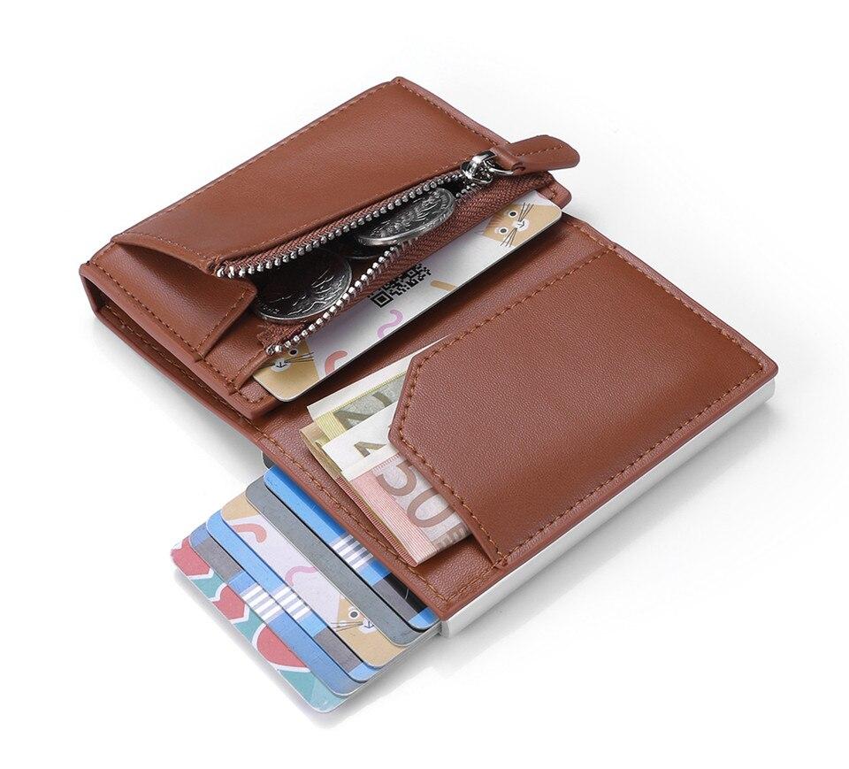 2020 Rfid Card Holder Men Wallet Black Short Purse Money Bag Male Zipper Small Trifold Thin Slim Mini Magic Wallet Pop Up