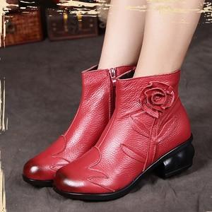 Image 5 - BEYARNE  2018 Autumn Fashion Women Genuine Leather Boots Handmade Vintage Flower Ankle Botines Shoes Woman Winter botas