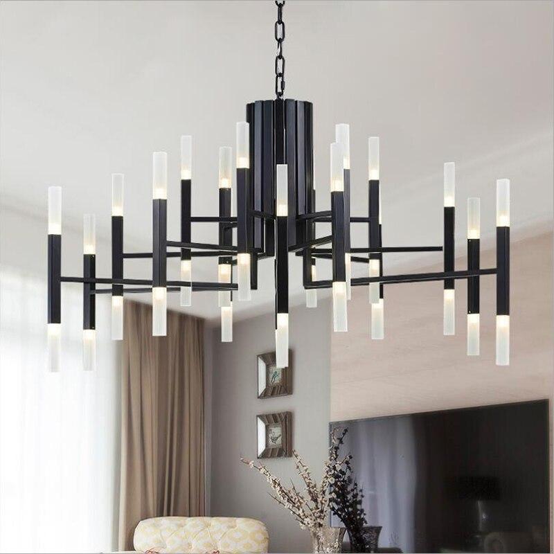 Luminaire suspendu de salon créatif postmoderne nordique restaurant chambre or/noir escalier pendentif LED luminaires 110 V/220 V