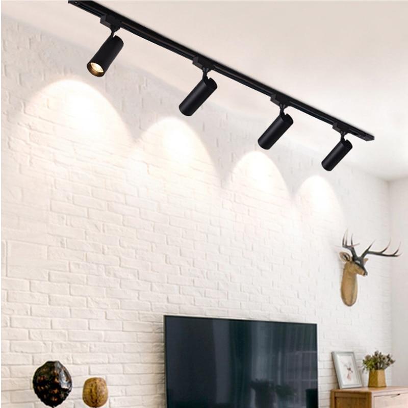 220V COB Led Track Light Rail Spotlights Ceiling Lamp Black Track Lighting 12W 20W 30W Aluminum Flexible Kitchen Art Gallery