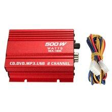 Aluminum Alloy Stereo Amplier LED Indicator 2 Channel 12V 40