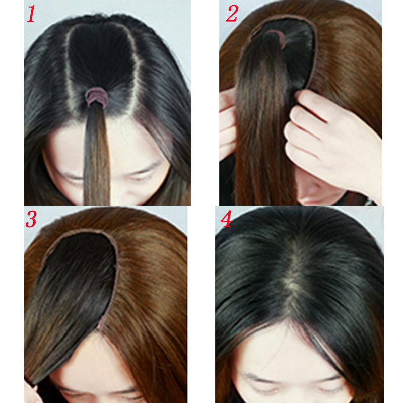"""Long Wavy Culry U-Shaped Half Wig for Women 24"""" Natural Female Long Black Brown Wigs Heat Resistant Synthetic Fake Hair 6"""