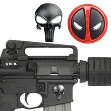 Tactical 3d crânio metal decalque adesivo magwell para ar15 ak47 m4 m16 pele distintivo airsoft caça arma 5.56 22lr revista acessórios