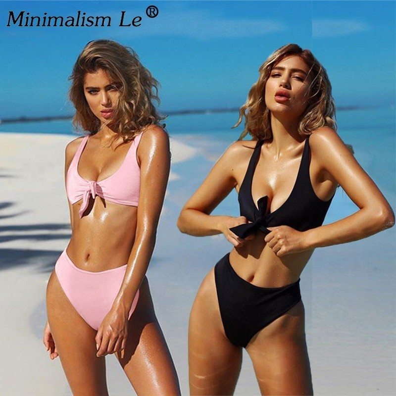 Women Solid Button Swimwear Sexy Brazilian Swimsuit Summer Bandage Tube Top Bikini Set New Bathing Suit Female Beachwear Biquini