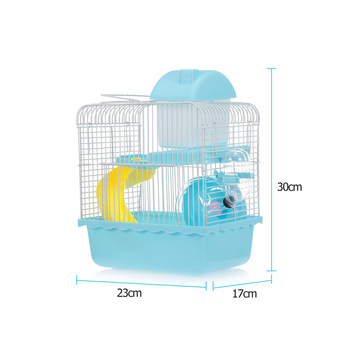 Hamster Cage Portable Carrier Two-Story Hamster Habitat with Hamster Wheel Water Dispenser for Hamster Mouse Small Pets 3