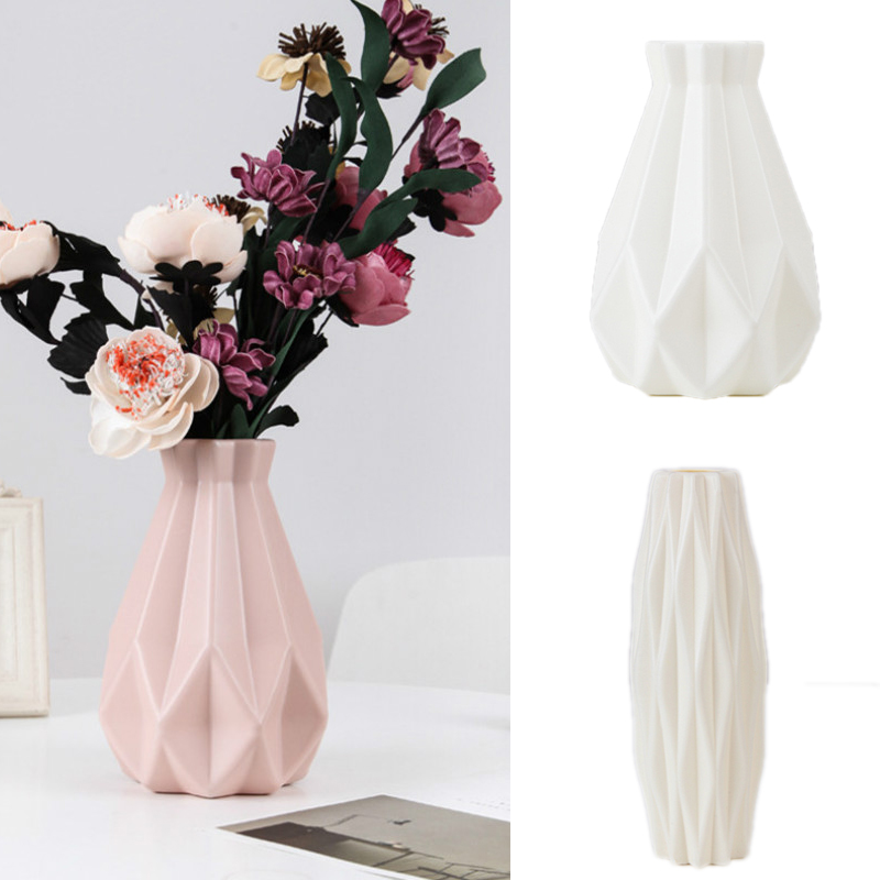 1.9US $ 30% OFF Flower Vase Decoration Home Plastic Vase White Imitation Ceramic Flower Pot Flower B...