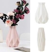Wazon na kwiaty dekoracja domu wazon plastikowy biały imitacja ceramiczna doniczka na kwiaty kosz na kwiaty dekoracja nordycka wazony na kwiaty