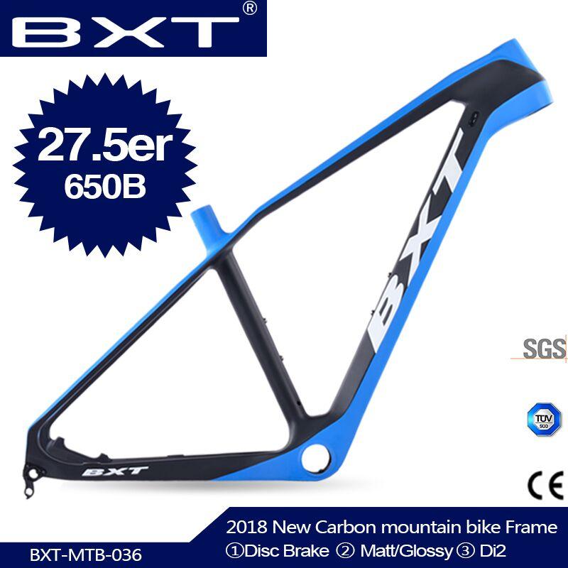 2019 Toray T800 Carbon Fiber Mountain Bike Frame 27.5ER 650B Cycling MTB Frameset 15.5/17/18.5/20 Carbon Bicycle Frame BSA/PF30