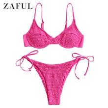 ZAFUL Women Hot Pink Neon Smocked Tie Bikini Swimsuit Tie Side Low Waisted Bikini Sets Spaghetti Straps Solid Push Up Swimwear royal tie up front high waisted strings bikini set