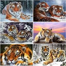 5D DIY Diamond Painting Tiger Full Square/Round Resin Animal Diamond Embroidery Picture of Rhinestones Diamond Mosaic Home Decor