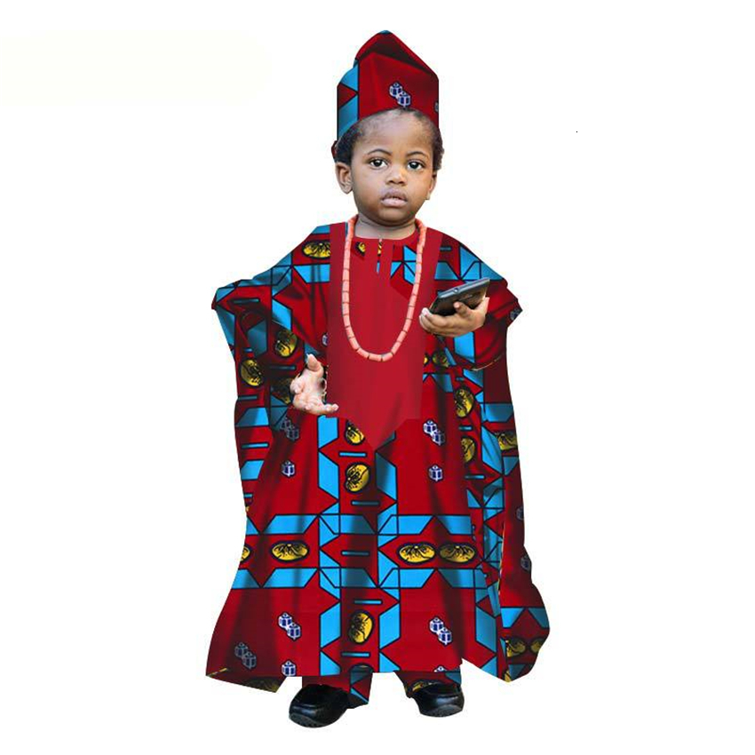 Vêtements africains 2019 nouvelles Dashiki imprimer enfants tête écharpe Frock Top pantalon 4 pièces costume garçon Bazin Riche Robe enfants Robe Africaine