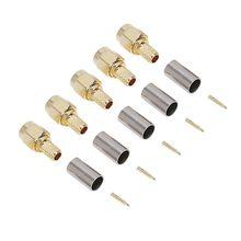 Alta qualidade 5 pçs sma macho plug rf coaxial conector crimp para rg58 rg142 rg400 lmr195 rg223
