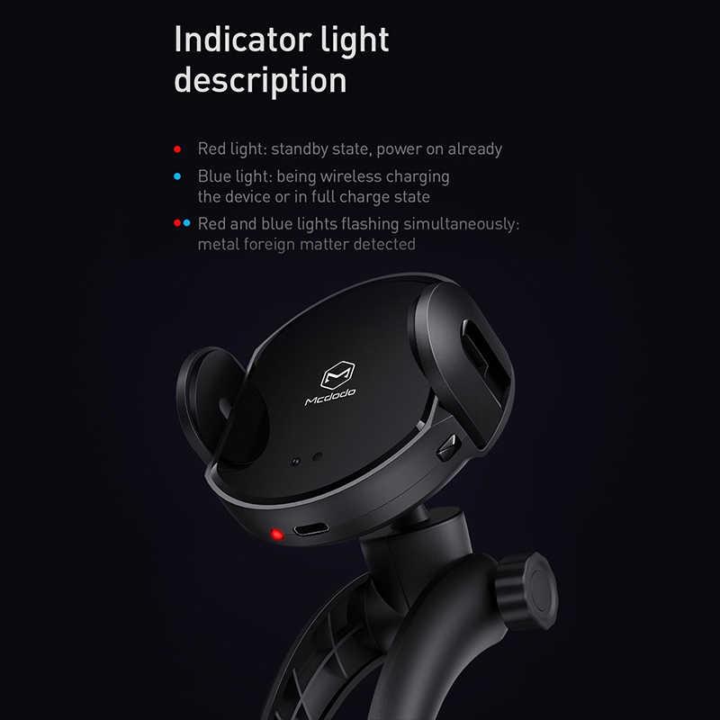 Cargador de coche inalámbrico Mcdodo Qi, soporte de salida de Clip de aire infrarrojo automático, soporte de teléfono para coche, Cargador rápido de 10W para iPhone Samsung