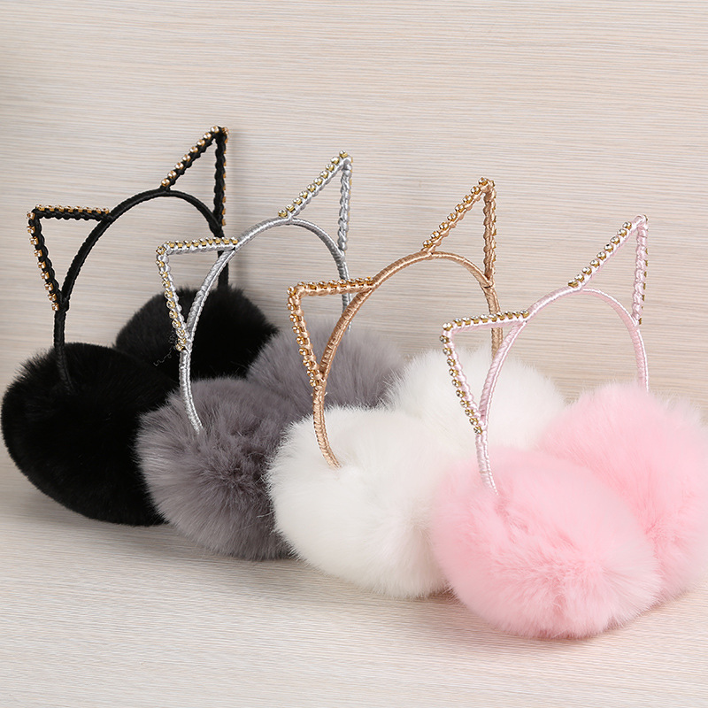 New 2020 Lovely Point Drill Cat Ears Plush Earmuffs Women Girl Fur Plush Ear Warmer Muffs Headband Cartoon Earlap