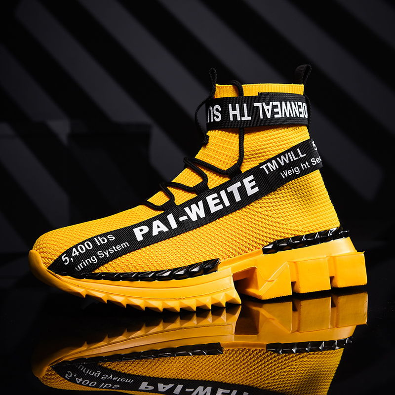 Black White Yellow Men's Sneakers Breathable Mesh Running Men Shoes High Top Sports Man Shoes Lightweight Male Gym Jogging 43 44