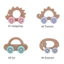 Baby Wooden Teether Car 10PC Rocking Car Teether For Infants Original Wooden Teether Toys Teether Pendant Charms(China)