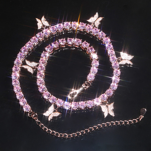 Image 5 - 2020 pink pinky drip 5mm cz butterfly charm tennis chain 32+10cm choker necklaces iced out bling hip hop cool rock women jewelry