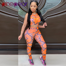 PinePear Snake Print 2 Piece Outfits for Women Mesh Crop Tan
