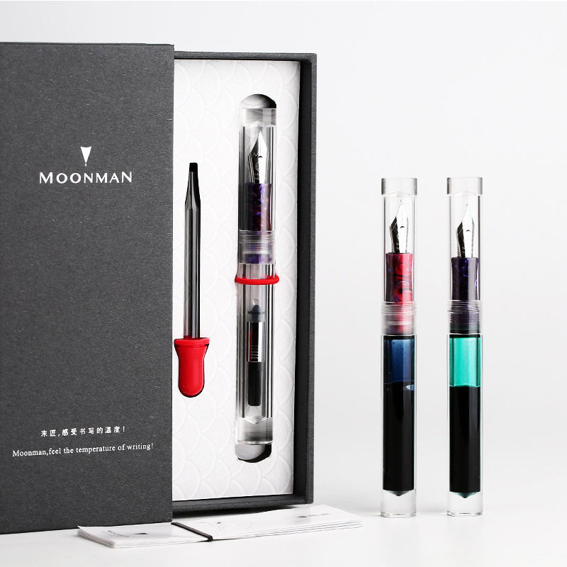 Moonman C1 Large Ink Capacity Eyedropper Transparent Clear Fountain Eye Dropper Filling Pen F Nib Ink Pen Converter Ink Pen Gift