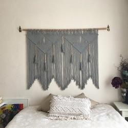 Nowa makrama ścienna wisząca ręcznie tkana artystyczna  bawełniana lina makata boho Home Decor szara w Dekoracyjne gobeliny od Dom i ogród na