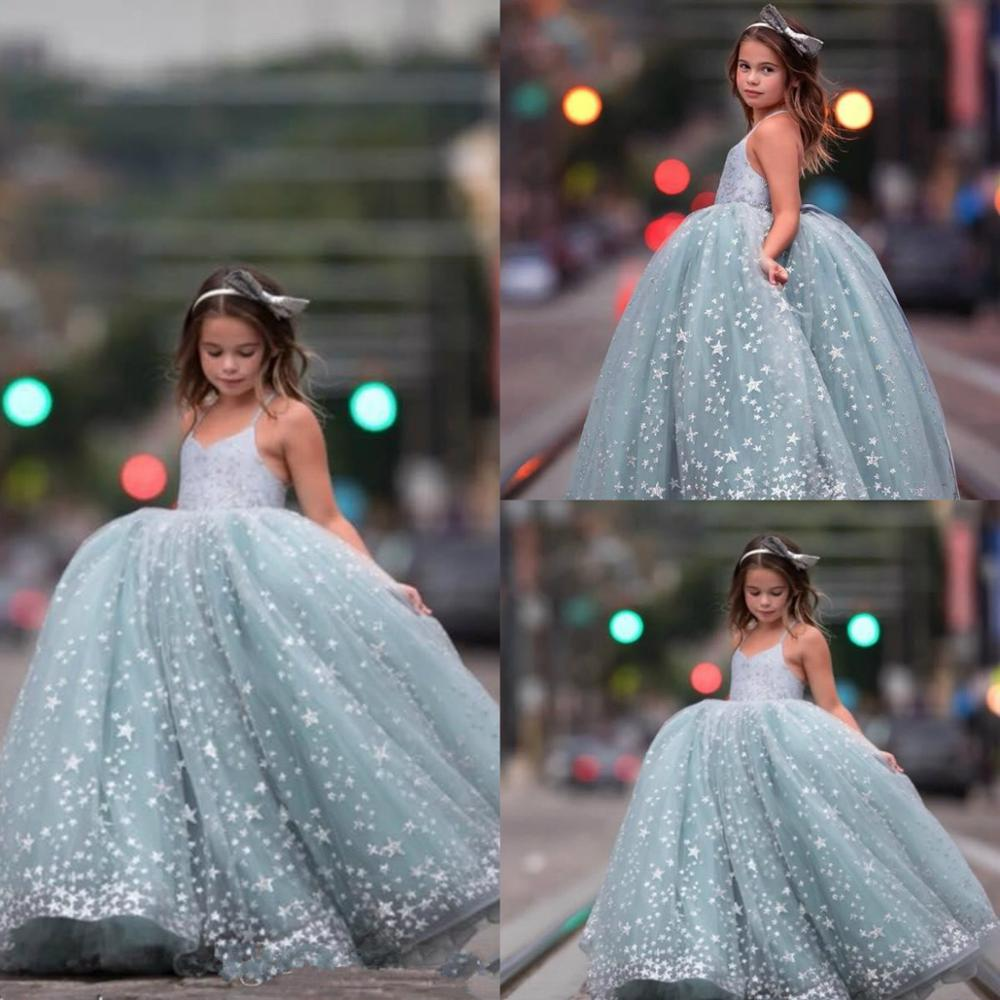 Little Girl's Ball Gown Pageant Dresses Spaghetti Flower Girl Dress With Stars Appliques Kids Formal Wear
