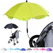 1PC Pram Umbrella Adjustable Stroller Umbrella Rain & UV Protection Baby Pram Pushchair Sun Shade Parasol With Universal Clamp(China)