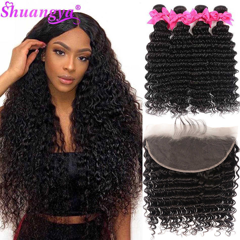 Brazilian Deep Wave Bundles With Frontal 100% Virgin Human Hair 3/4 Bundles With Frontal Shuangya hair Frontal With Bundles