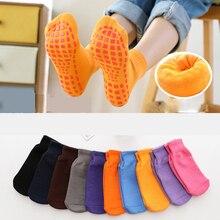 Fashion Women Silicone Dots Anti Slip Cotton Socks Autumn Winter Home Thicken Warm Non-slip Floor Socks For Boy Girl