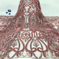 Latest African Cord Lace Fabrics High Quality 2019 Nigerian Lace Fabric with velvet For Wedding African Lace Fabric